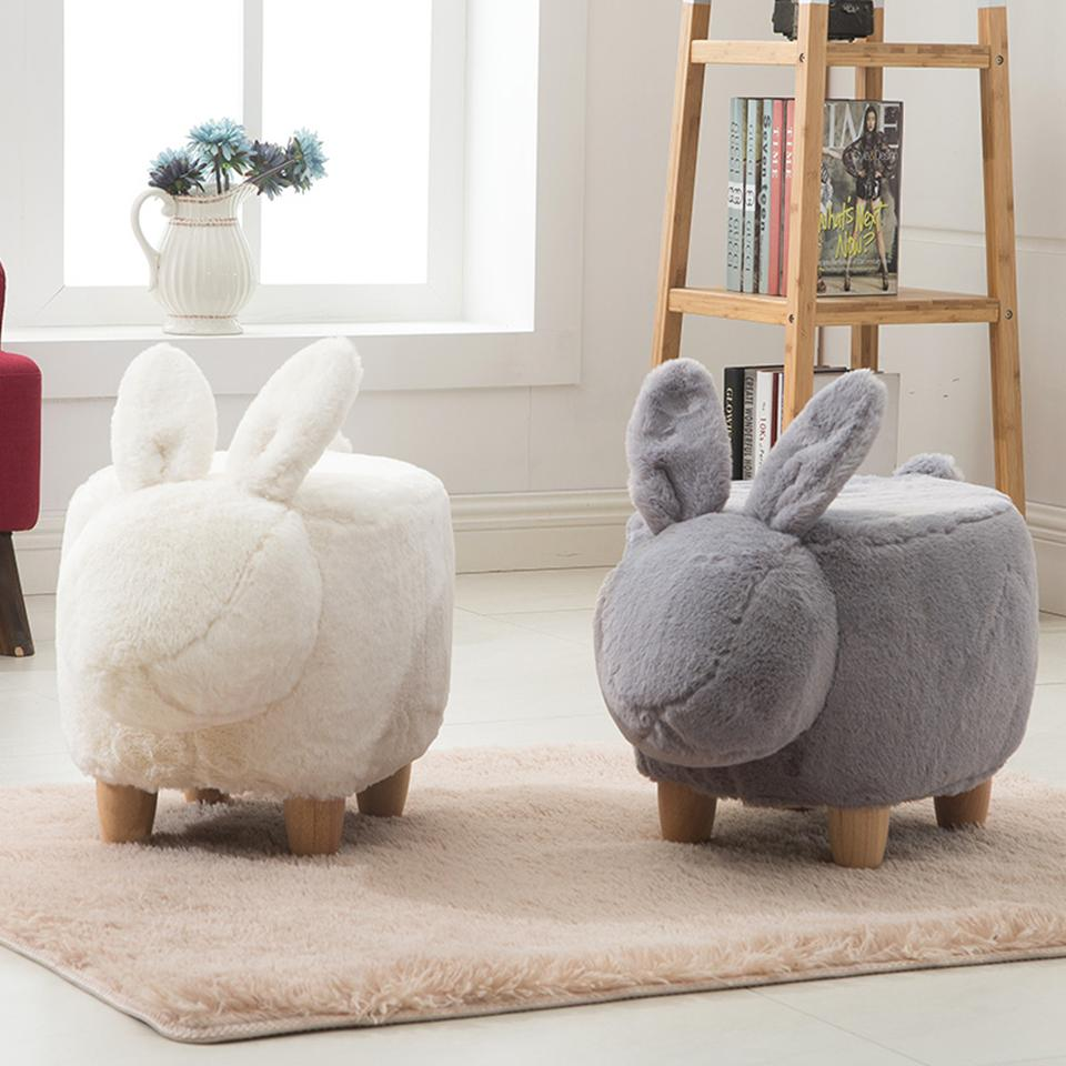 Rabbit Stool Shoes Sofa Stool Faux Fur Washable Cover Solid Wood Legs