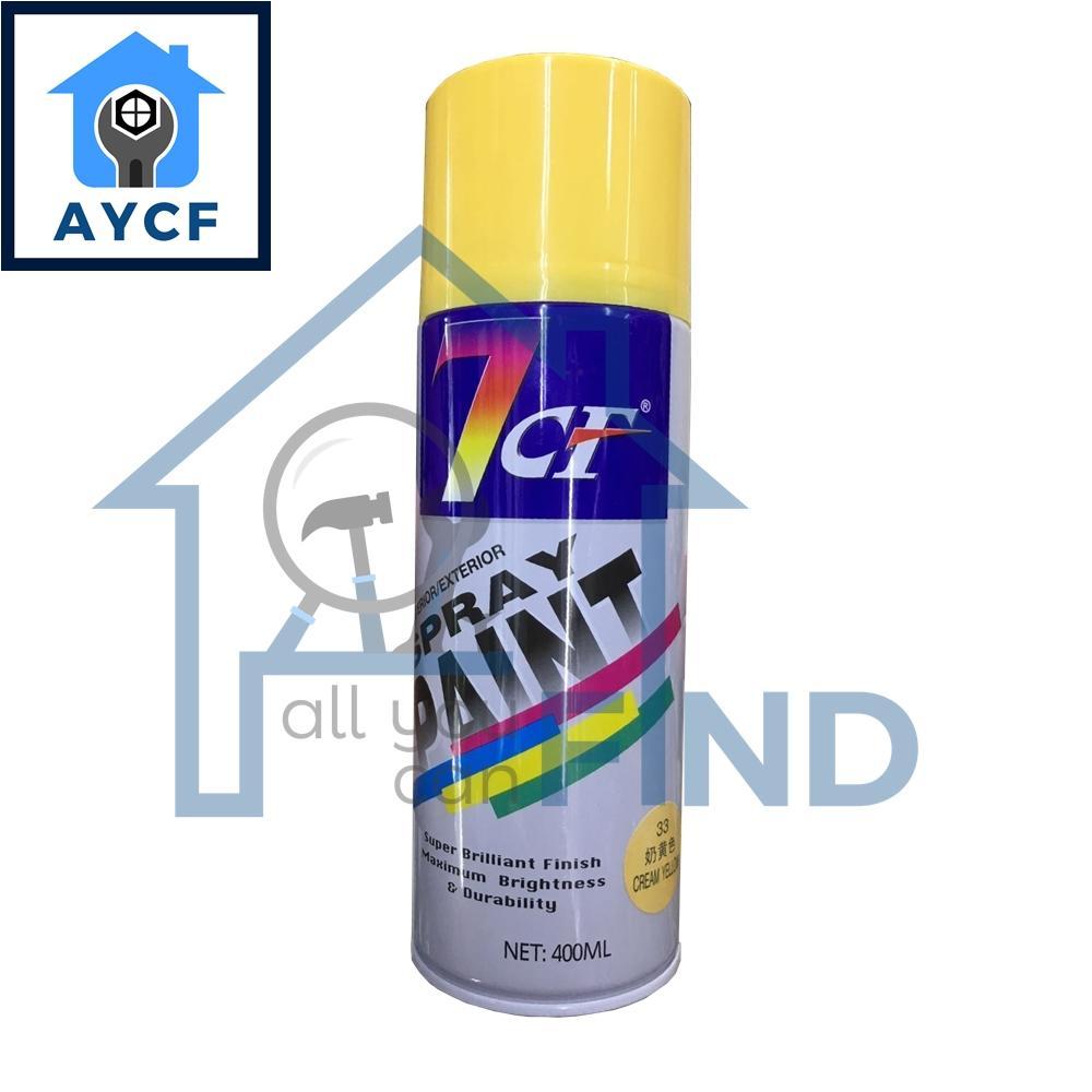(BUNDLE OF 12) 7CF Interior / Exterior Spray Paint 400ml - Cream Yellow