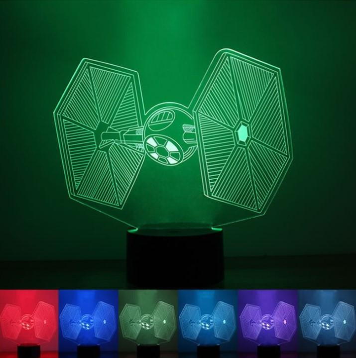 3D Starwars - TIE - 7 Color Change Night LED Table Light Lamp
