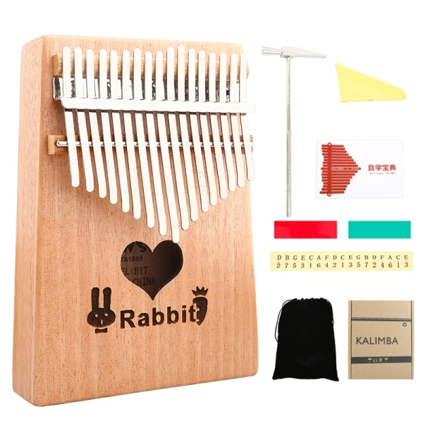 17 Keys Kalimba Thumb Piano with Tune Hammer Wood Hand Finger Piano Gifts for Kids Adult Beginners Heart Rabbit Style