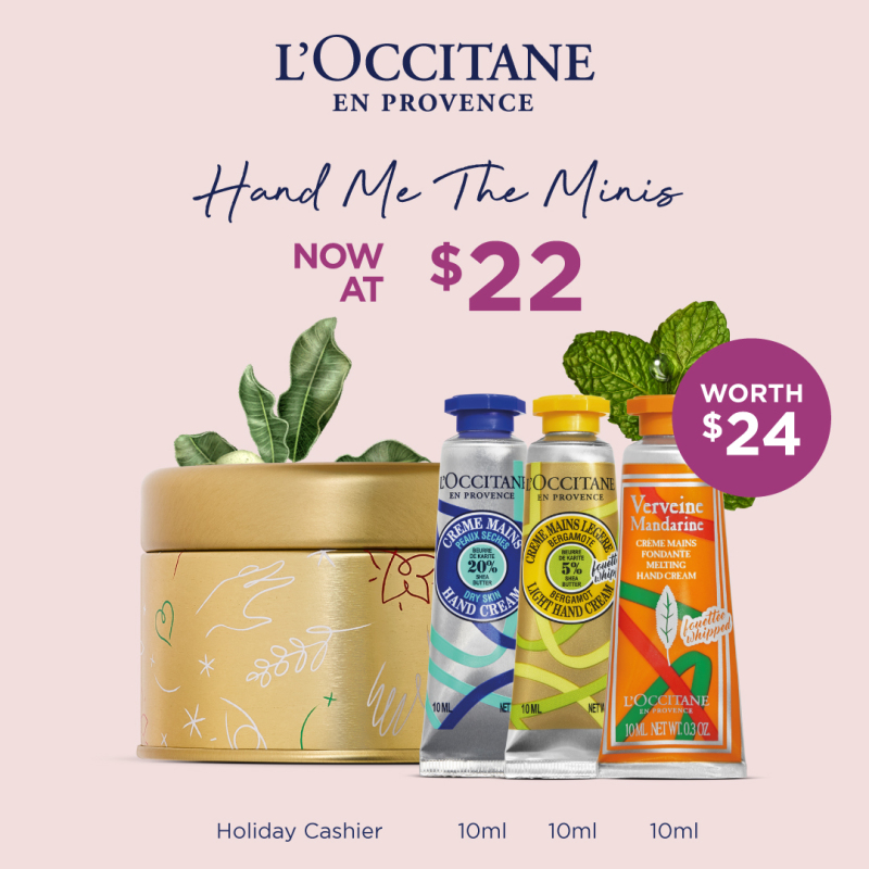Buy [MOTHER'S DAY SET] L'OCCITANE – Hand Me The Minis (worth $24) • includes Shea Hand Cream 10ml +Shea Light Hand Creme 10ml+ Man Ver 20 Hand Cream 10ML + 2020 Holiday Cashier 2 Singapore