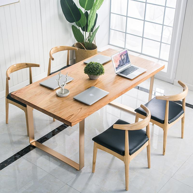 Minimalist Modern Household Dining Table Made of Solid Wood Small Apartment Complete Dining Tables And Chairs Set Simple Creative Iron Art Table Customizable