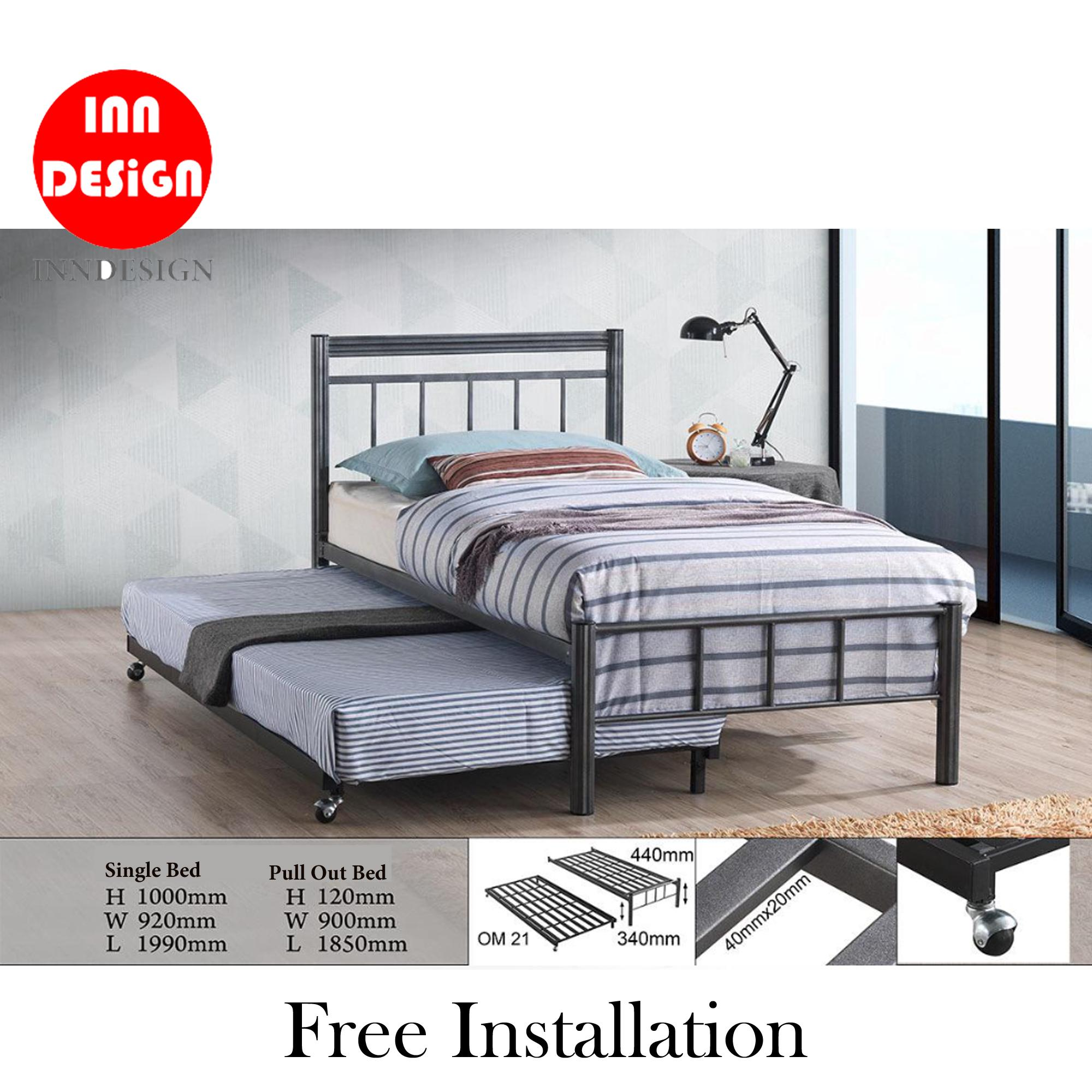 [6 Months Warranty] Emmie Solid Single Metal Bedframe With Add-On PullOut Bed (Free Delivery and Installation)