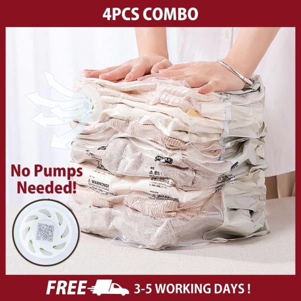 Three-Dimensional Vacuum Bags For Clothes No Pump Needed Hand Pressure Storage Bag Closet Clothing Organizer Space Saving Bag