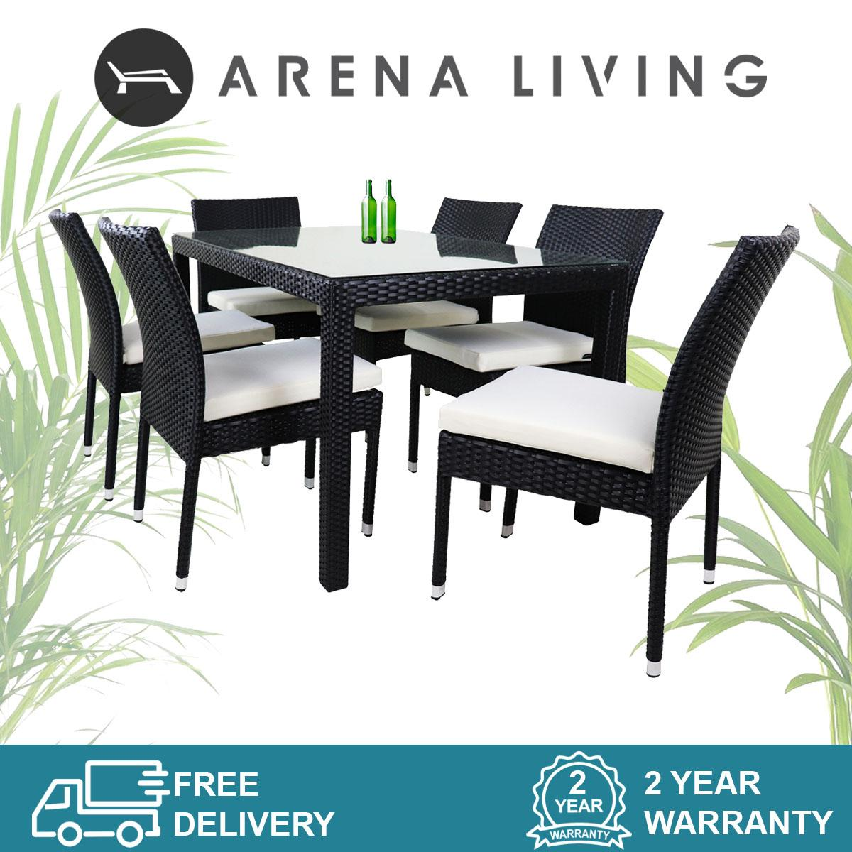 Casa 6 Chair Dining Set Set by Arena Living - 2 Year Warranty Outdoor Furniture
