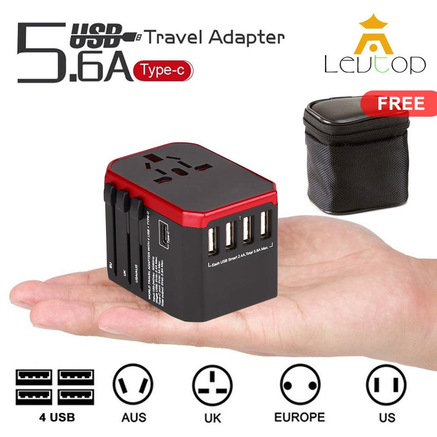 LEVTOP Ultimate Universal Travel Adapter All in One International Worldwide Wall Power Travel Adaptor with 4 USB Port + 1 Type-C Port Fast Wall Charger Plug (Black)