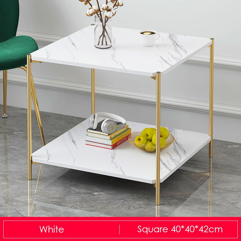 White Marble Print Gold Metal Contemporary Square Coffee Table