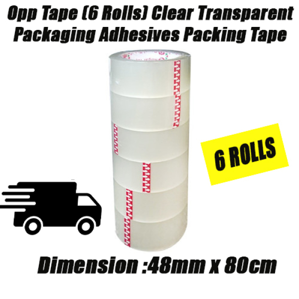 Opp Tape (6 Rolls) 48mmx80cm Clear Transparent Packaging Adhesives Packing Tape [Local SG Seller]