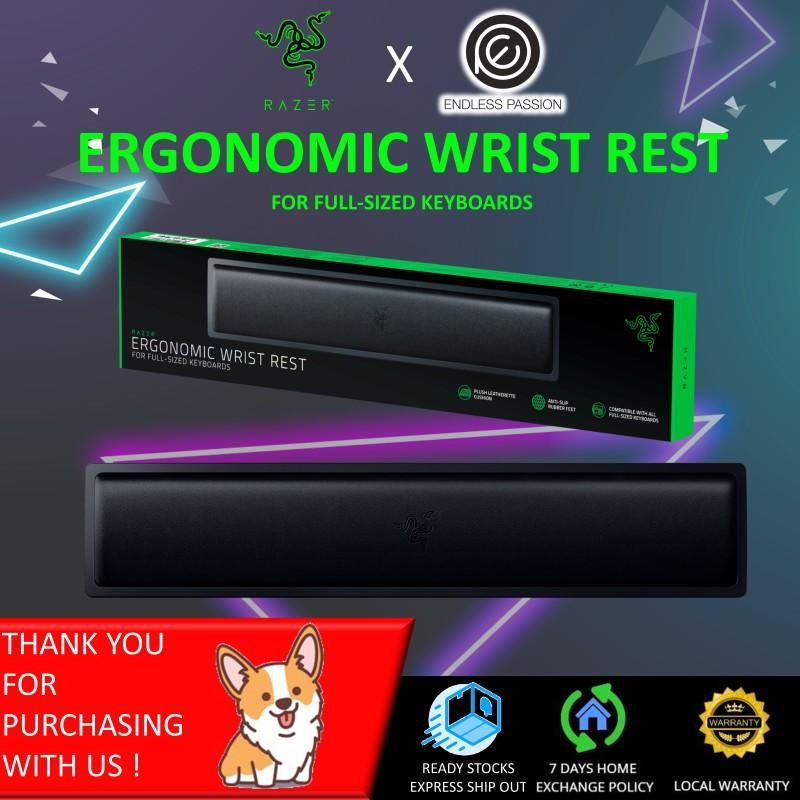 Razer Ergonomic Wrist Rest for Full-Sized Keyboards: Anti-Slip Rubber Base - Angled Incline - Classic Black Singapore