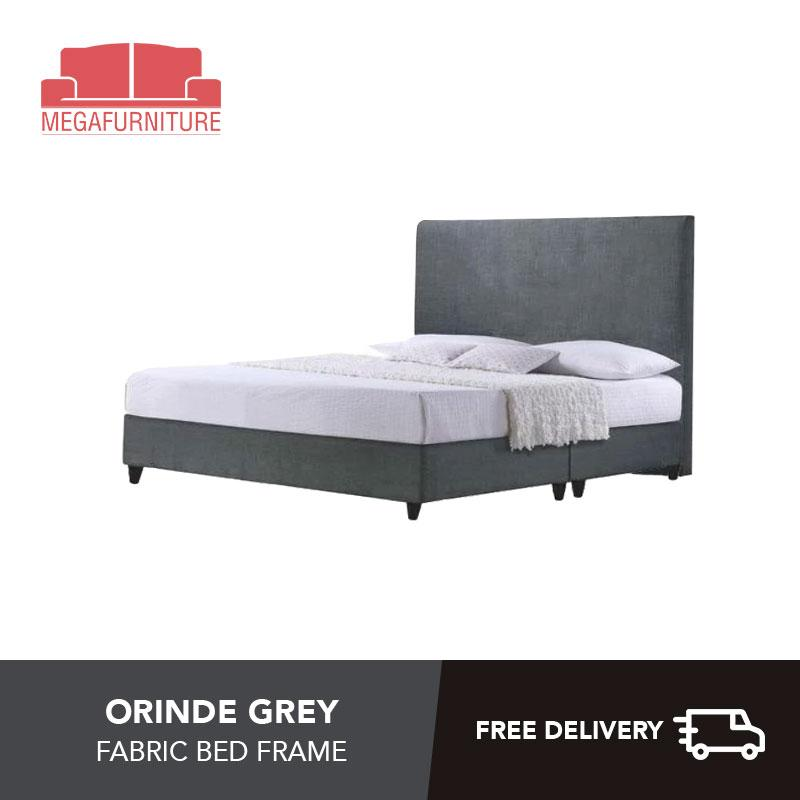 Orinde Grey Fabric Bed Frame - Single, Super Single, Queen, King