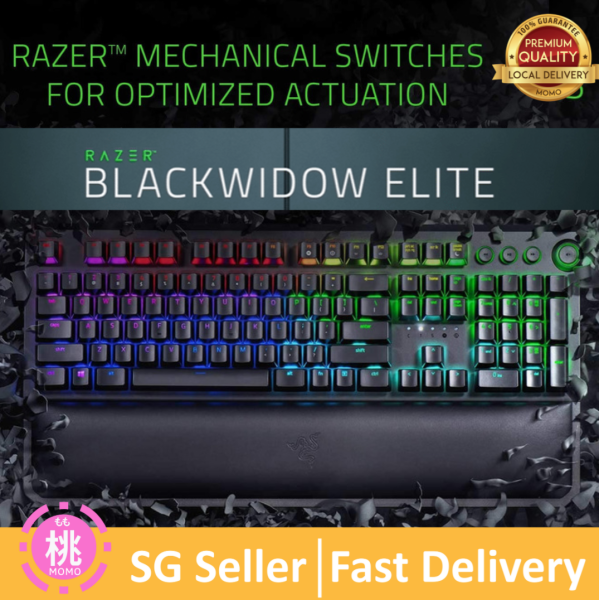 Razer BlackWidow Elite Mechanical Gaming Keyboard: Green Mechanical Switches - Tactile & Clicky - Chroma RGB Lighting - Magnetic Wrist Rest - Dedicated Media Keys & Dial - USB Passthrough Singapore