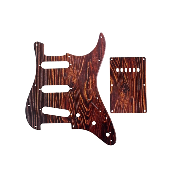 Set of 3 Ply Red Tortoise Shell Scratch Plate Electric Guitar Pickguard Strat SSS & Back Plate