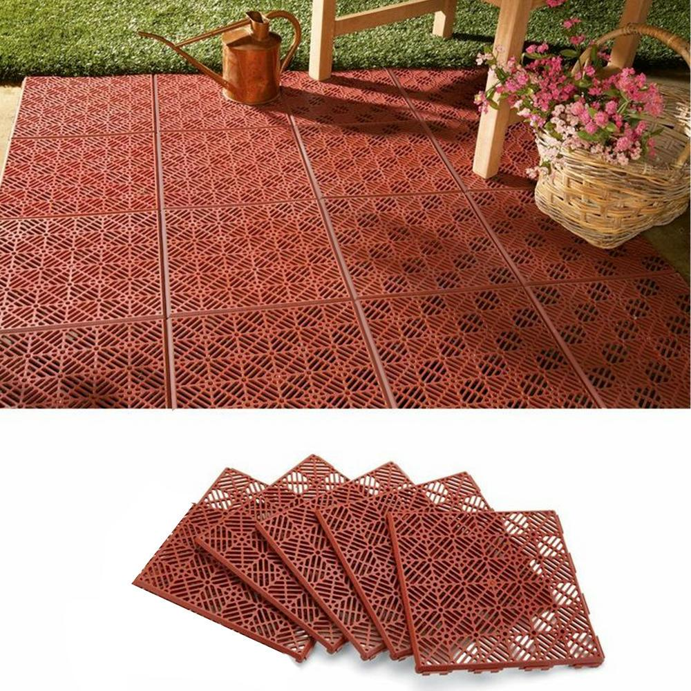 Garden Path and Patio Decking Interlocking Tiles- Terracotta colour - 300x300x15mm (9 pcs)