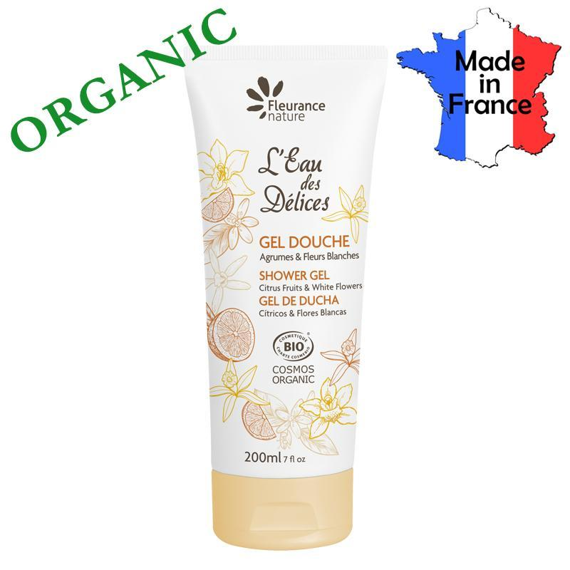 Buy Certified Organic Shower Gel Citrus and White Flowers Made in France - by FLEURANCE Singapore