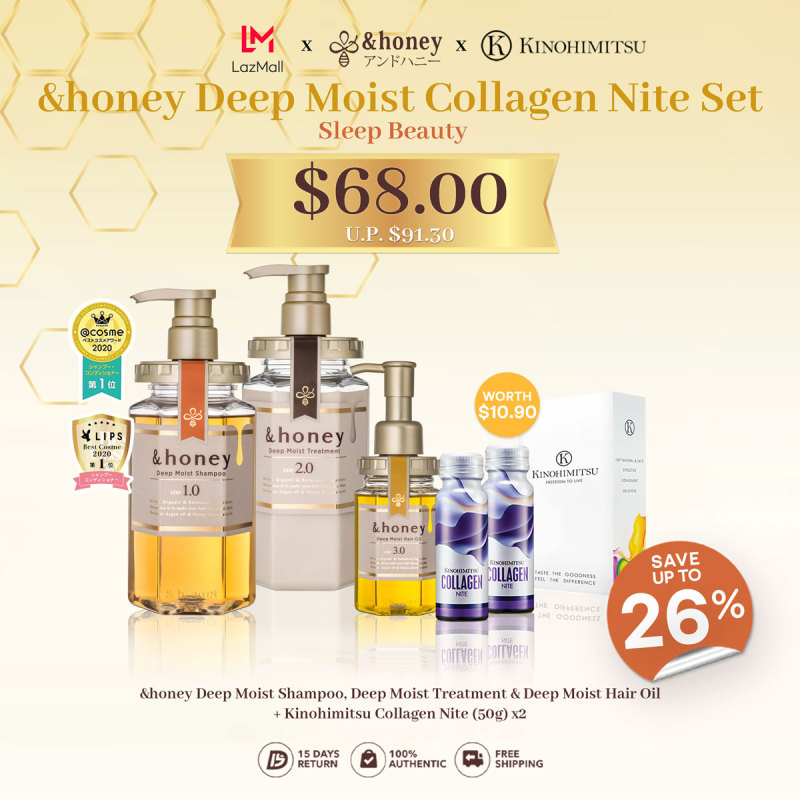 Buy &honey Deep Moist Collagen Nite Set [Shampoo 1.0 + Treatment 2.0 + Hair Oil 3.0 + Kinohimitsu Collagen Nite] Singapore