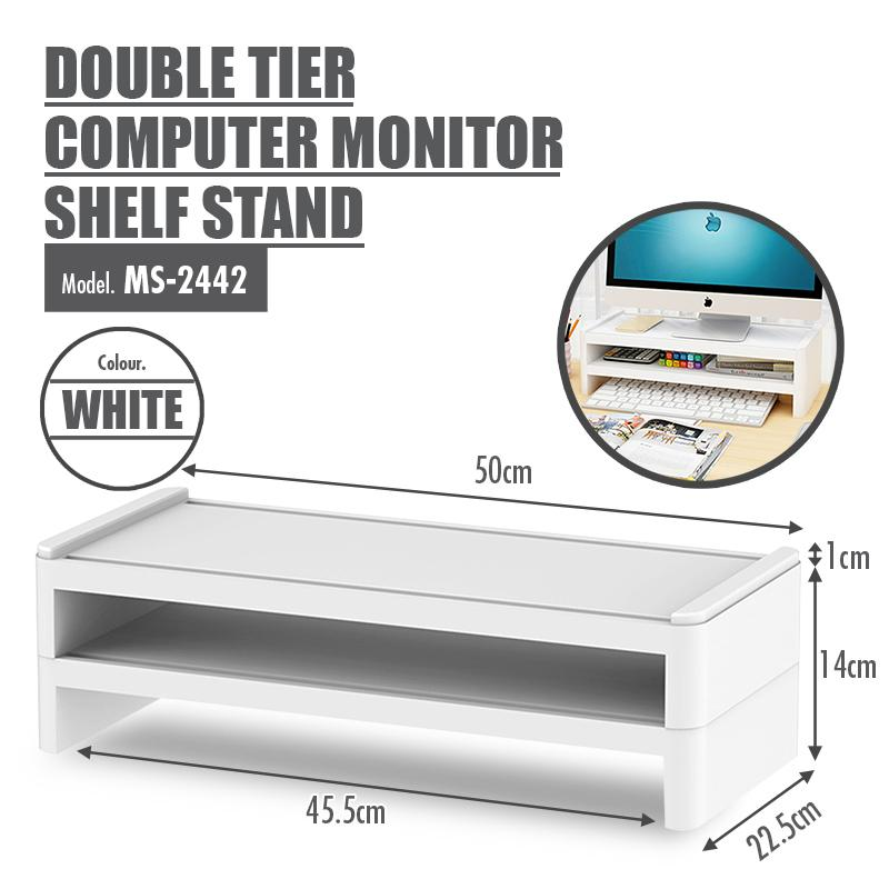 Double (2) Tier Computer Monitor Shelf Stand (White)