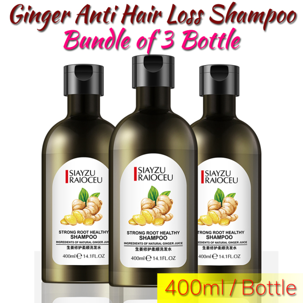 Buy [Bundle of 3 Bottles] Saiyzu Raioceu Ginger Anti Hair Loss and Hair Growth Shampoo for All Hair Types, Men and Women, 400ml Singapore