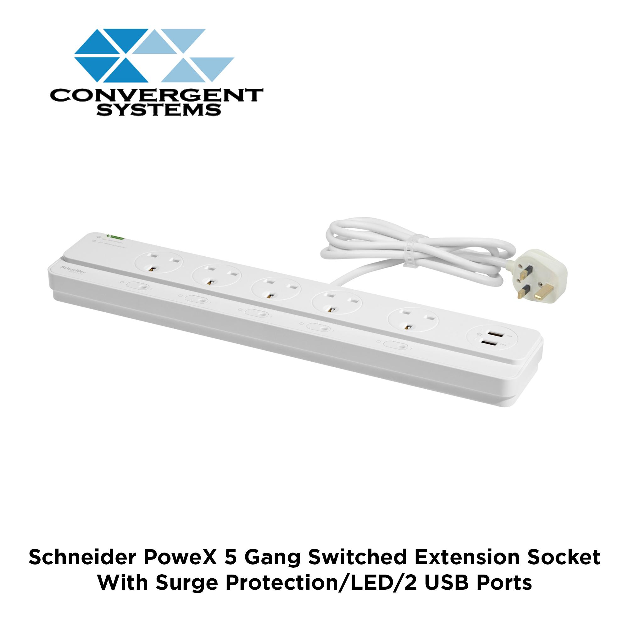 Schenider PoweX 13A 5 Gang Switched Extension Socket with Surge Protection, LED & 2 USB Port
