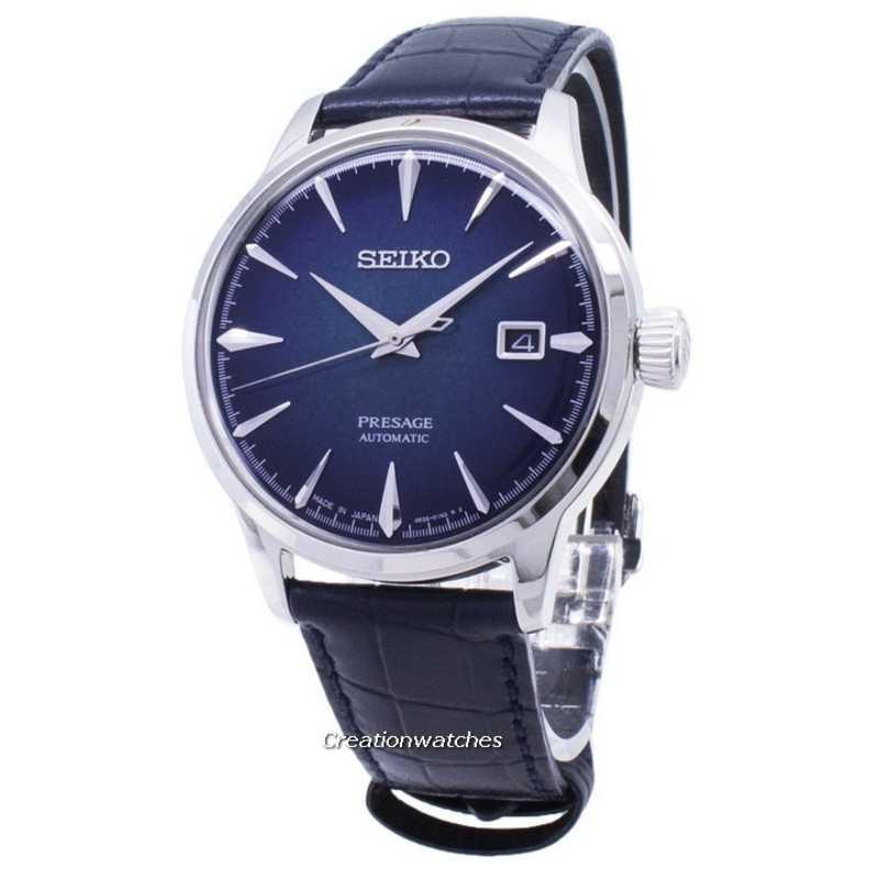 Seiko Presage Cocktail Automatic Japan Made Men's Blue Leather Strap Watch SRPC01J1