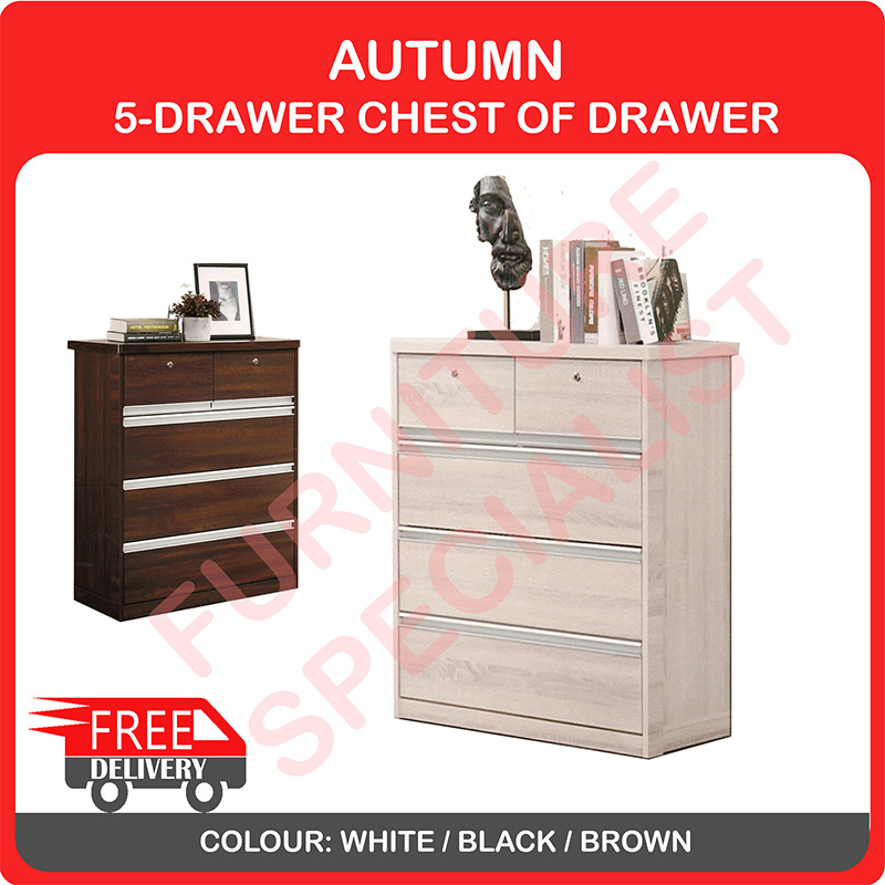 SUMMER 5-DRAWER CHEST OF DRAWERS WITH LOCKS