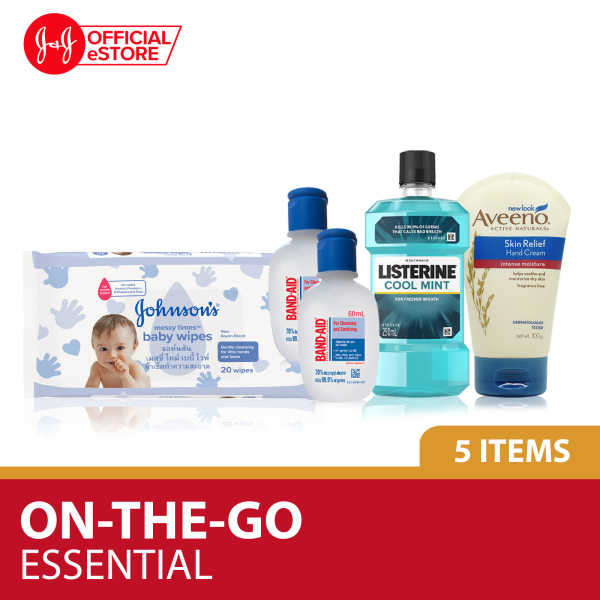 Buy Essential On-The-Go All Rounded - Hand Sanitizer, Listerine Mouthwash, Messy Time Wipes and Aveeno Hand Cream Singapore