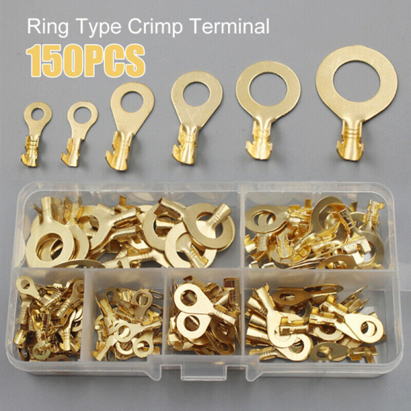 150pcs/set Durable Electrical Gold Butt Ring Cable Connector Lug Wire Non-insulated Assortment Kit Crimp Terminals