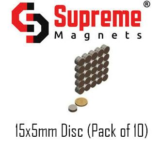 N50 Super Strong Powerful Neodymium magnet 15mm x 5mm disc (pack of 10) LTS-SM-ND155