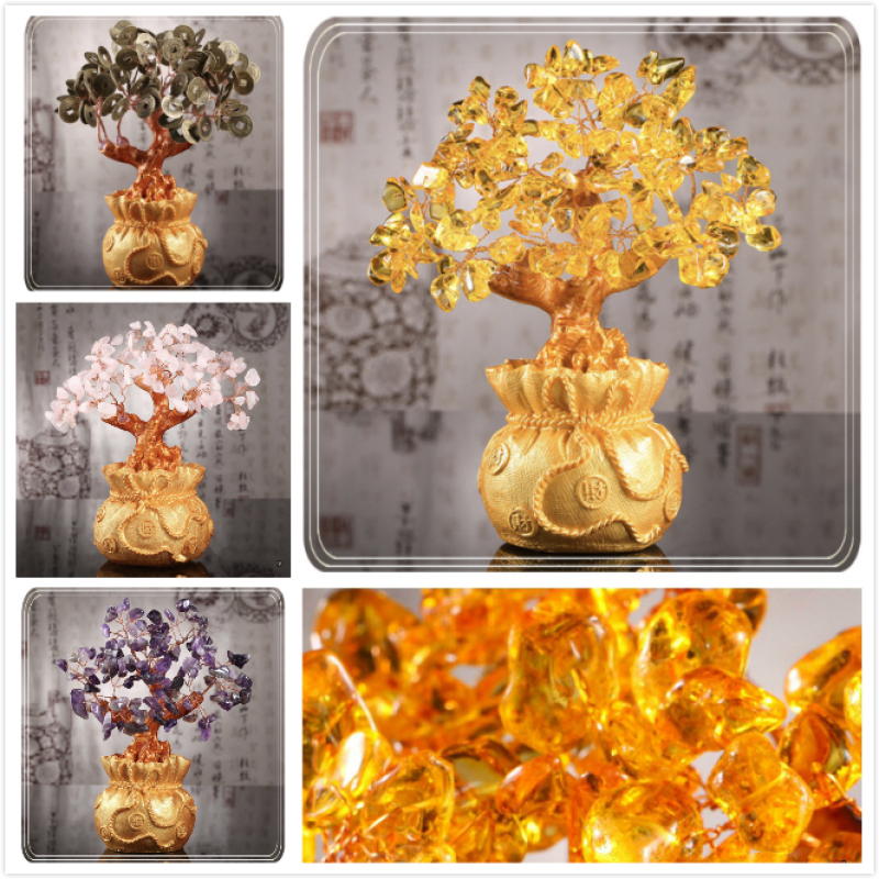 Natural Gemstone Jade Crystal Lucky Fortune Feng Shui Tree Fengshui Wealth Tree - Chinese Money Coins & Crystal