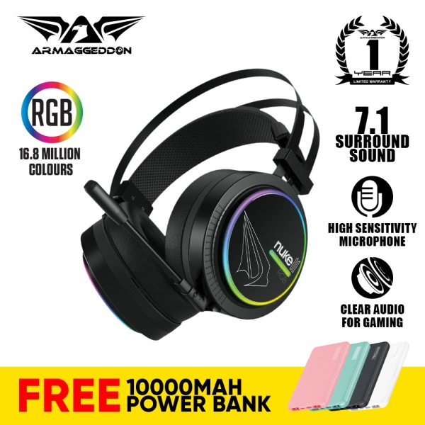 Armaggeddon Nuke 11 RGB 7.1 Surround Sound Gaming Headsets For PC And Laptop with Mic (PS4 Compatible)