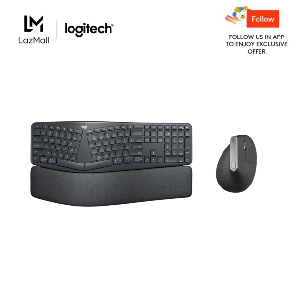 Logitech Ergo K860 Wireless Split Keyboard + Logitech MX Vertical Ergonomic Mouse for Stress Injury Care Singapore