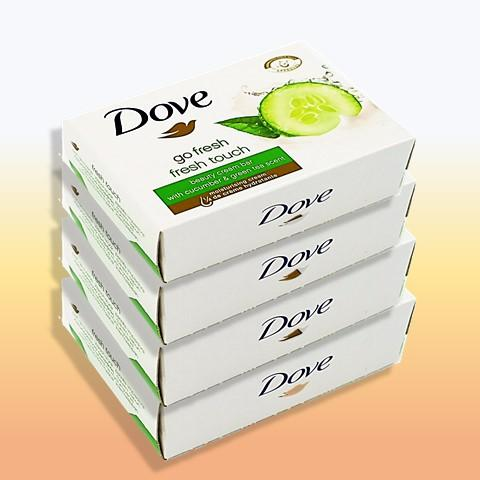 [4 Soap Bars] Dove Beauty Cream Bar with Cucumber & Green Tea Scent