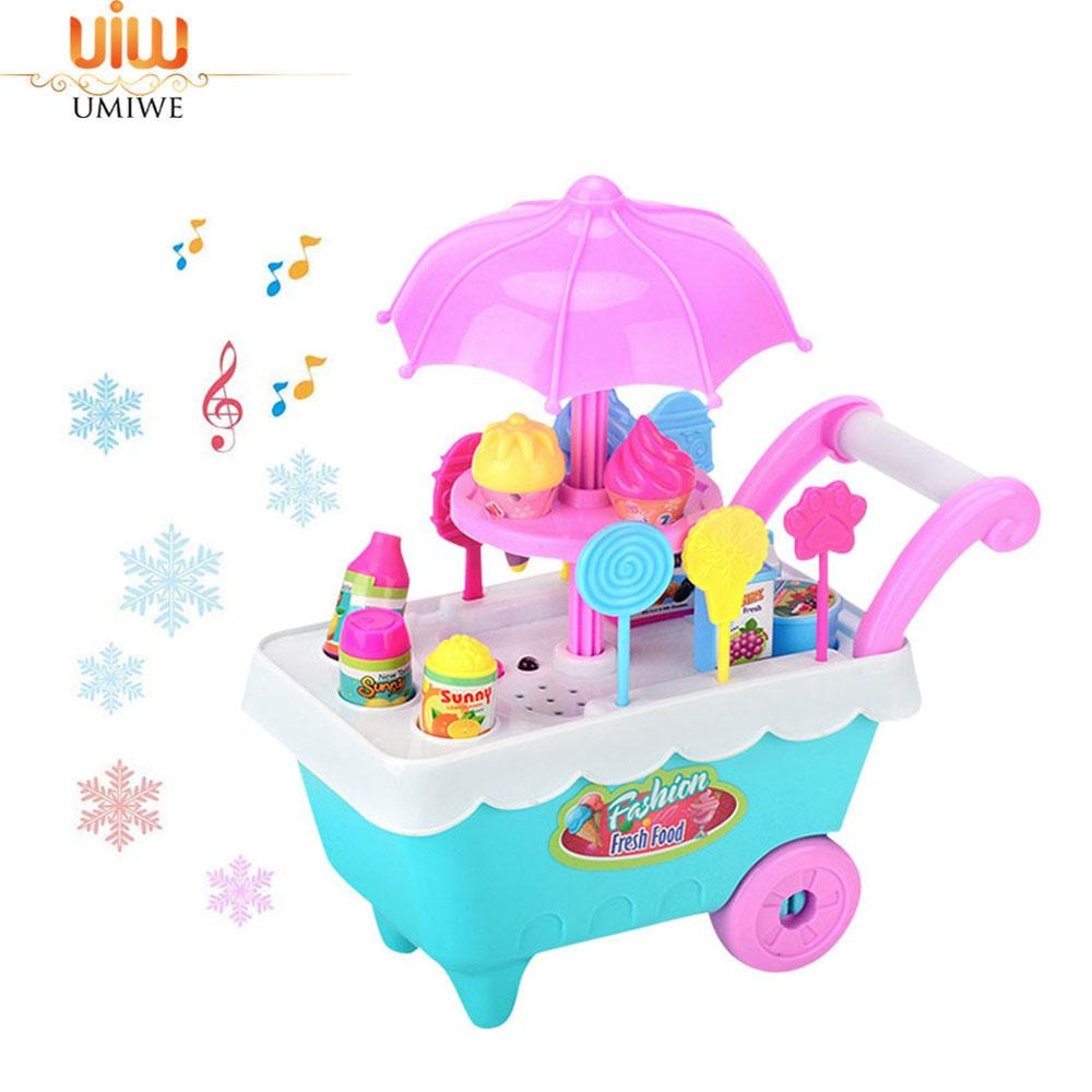 Umiwe Ice Cream Candy Cart, 27 Pcs Mini Kids Diy Play Set With Music And Light, Dessert Trolley Puzzle Toy, Fun Educational Gift For Girls By Umiwe.