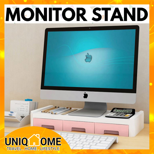 Uniqhome PC Monitor Stand computer stand Single Tier Dual Tier Table Organizer Table Organiser Office Table Organizer Office table Organiser Pink Grey Color