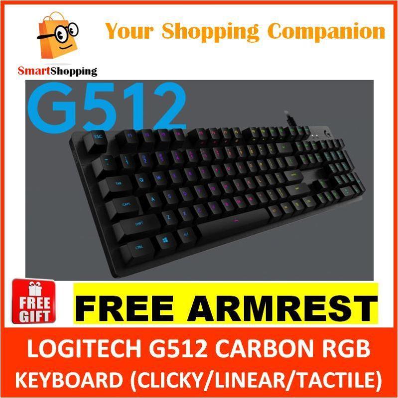 LOGITECH G512 CARBON (LINEAR/TACTILE/GX Blue) RGB MECHANICAL GAMING KEYBOARD G 512 KB Singapore