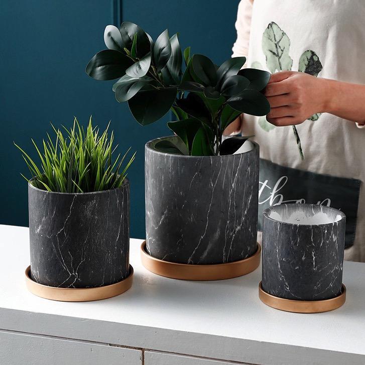 Lazada.sg & Black Marble Print Design Ceramic Made Flower / Plant Pot / Planter