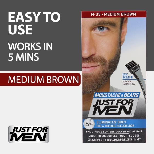 Buy Just For Men Brush-In Color Gel for Moustache, Beard and Sideburns - Medium Brown Singapore