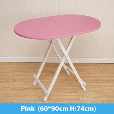Colorful Oval Folding Portable Foldable Table - Pink 60(W) x 90(L) x 74(H) cm