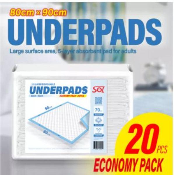 Buy XXL Size Absorbant underpad 80x90cm. 20pcs. Adults underpads . For senior nursing incontinence Singapore