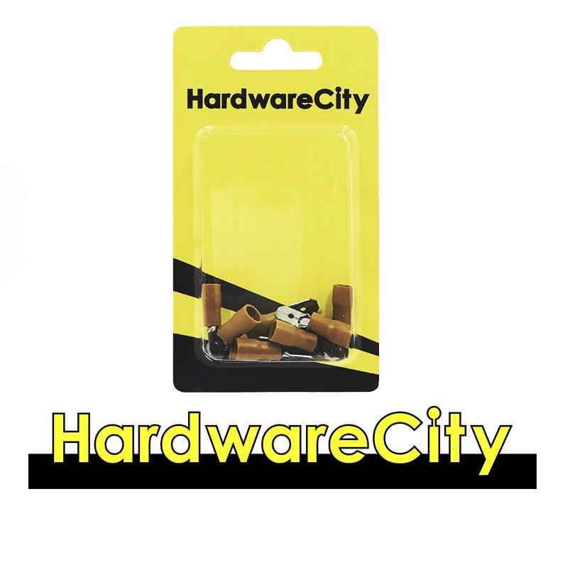 HardwareCity Insulated Spade Male Crimp Connectors, Yellow (12AWG - 10AWG), 10PC/Pack