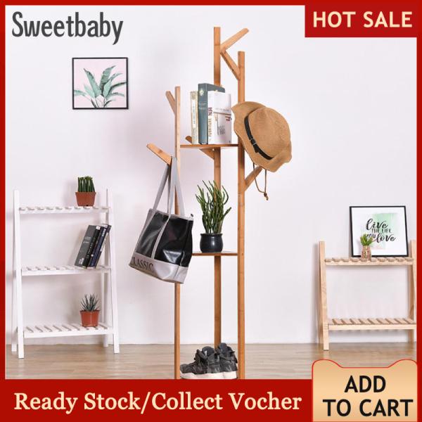 Multifunction Bamboo Floor Standing Rack Clothes Hanger for Hat Coat Handbags Bedroom