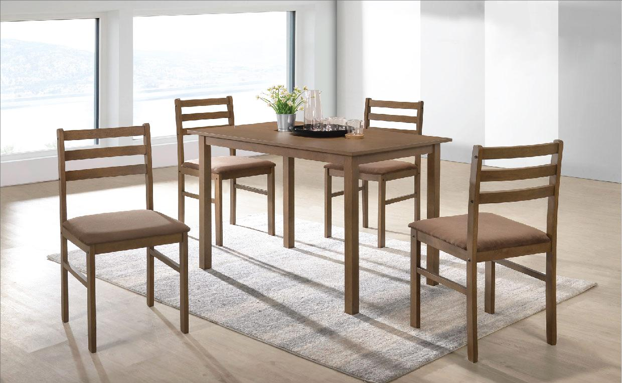 [A-STAR] Dining Set 1 + 4 Wooden Cushion seat Light Oak (Free Install)