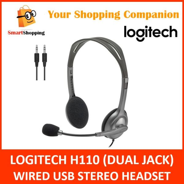 Logitech Headset H110 Stereo Sound USB Wired Dual Jack Seperate Audio and Mic (981-000459) 2 Years SG Warranty Singapore
