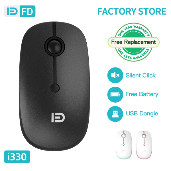 【Adjustable DPI】FD I330 Silent Wireless Mouse 800/1200/1600DPI 500Hz High Report Rate For Gaming PC Laptop Notebook Excellent Warranty Policy