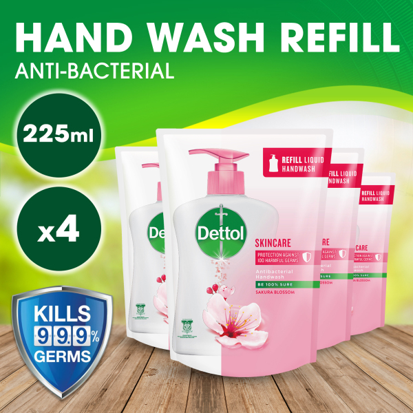 Buy [Bundle of 4] Dettol Anti-Bacterial Hand Wash Skincare - Refill Pouch 225ML (Kills 99.9% of Germs) Singapore