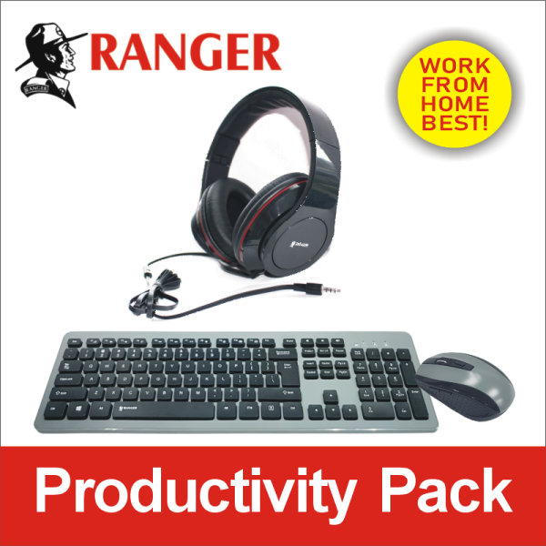 Ranger Wireless Keyboard With Mouse and Silicon Cover AND Blast-up Pro Headset with in-line Mic. Best work-from-home productivity pack. Singapore