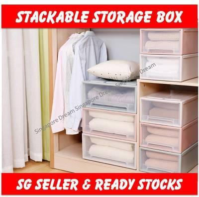 Portable Stackable Plastic Storage Box Cabinet Drawer Container Shelves Organizer Case Wardrobe 32 Liter (Extra Large)