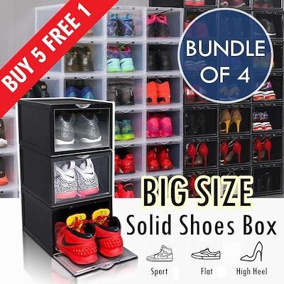 ♦ BUY 5 SET FREE 1 SET ♦ SET OF 4 ♦ BIG Plastic Stackable Shoes Box Storage Rack ♦ Foldable Shoe Cabinet Drawer Shelf