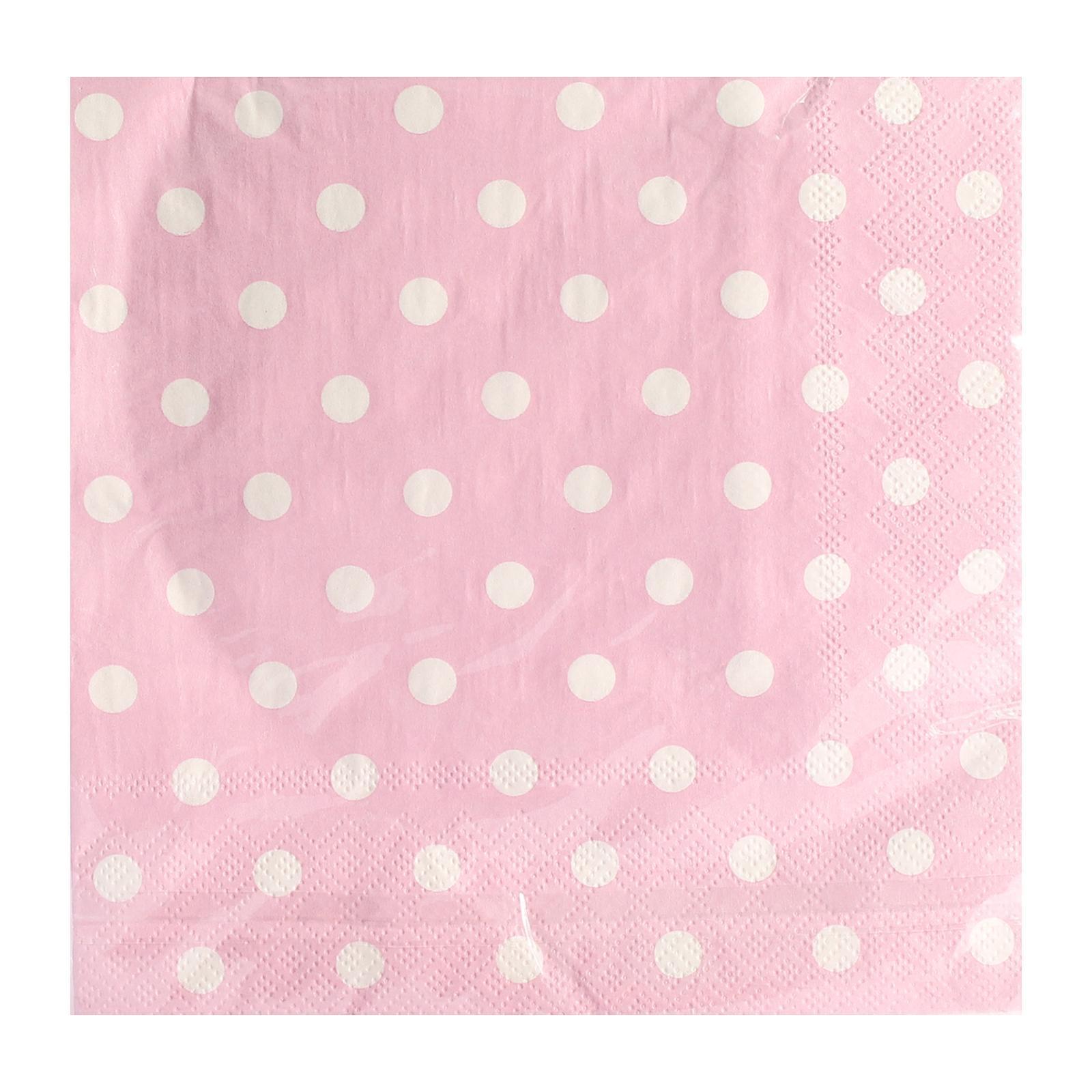Partyforte 20S 2-Ply Pink Polka Dot Paper Napkins 33x33Cm