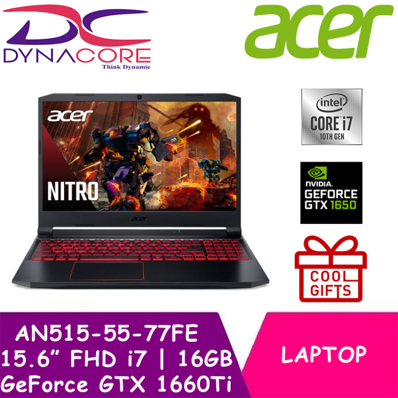 DELIVERY IN 24 HOURS】 DYNACORE - Acer Nitro 5 AN515-55-77FE Gaming laptop 15.6 IPS FHD 144Hz   i7-10750H   16GB / 32GB DDR4 RAM   GTX1660Ti-6GB DDR6   1TB PCIe SSD   Wifi 6 AX   Win10 Home   2Yrs Acer Warranty