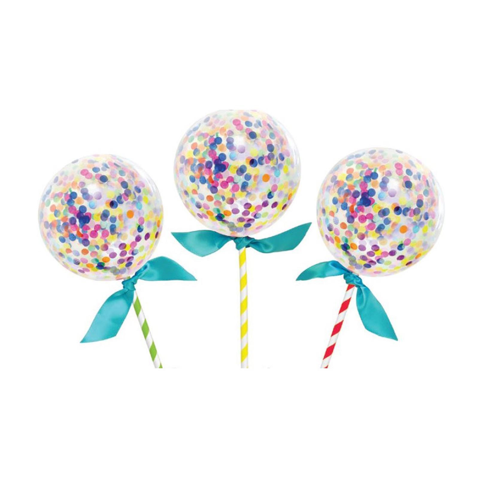 Artwrap Mini Balloon Party Cake Toppers - Confetti